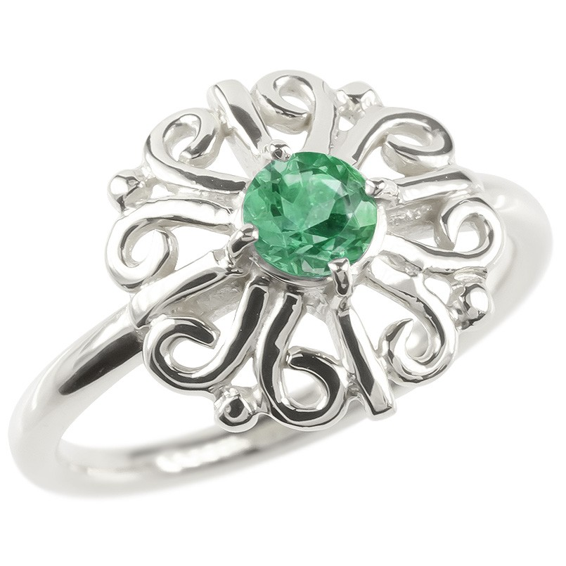ゴールド リング エメラルド レディース 指輪 ホワイトゴールドk10 婚約指輪 安い エンゲージリング ピンキーリング 透かし アラベスク アンティーク 花