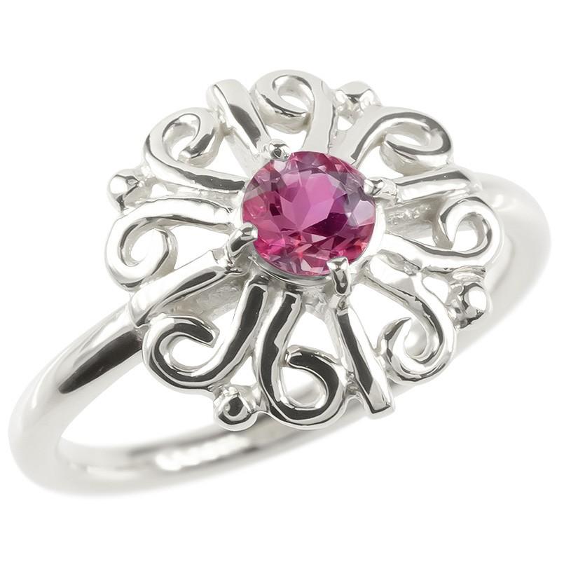 婚約指輪 安い ゴールド リング ルビー レディース 指輪 ホワイトゴールドk10 エンゲージリング ピンキーリング 透かし アラベスク アンティーク 花