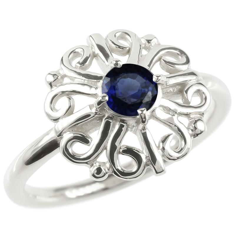 婚約指輪 安い 18金 リング ゴールド サファイア レディース 指輪 ホワイトゴールドk18 エンゲージリング ピンキーリング 透かし アラベスク アンティーク 花