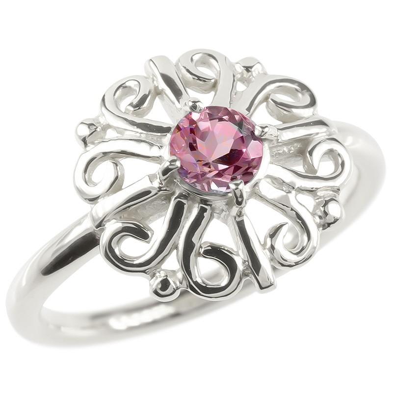 プラチナ リング ピンクトルマリン レディース 指輪 pt900 婚約指輪 安い エンゲージリング ピンキーリング 透かし アラベスク アンティーク 花 フラワー 女性