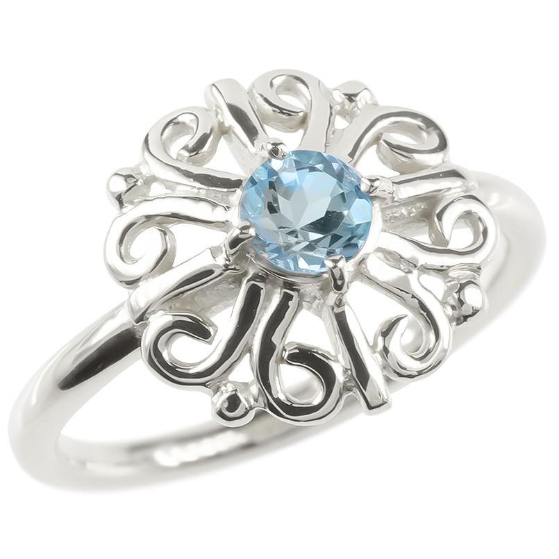 プラチナ リング ブルートパーズ レディース 指輪 pt900 婚約指輪 安い エンゲージリング ピンキーリング 透かし アラベスク アンティーク 花 フラワー 女性
