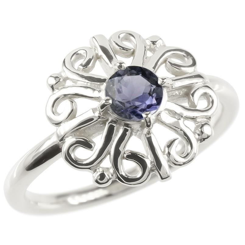 プラチナ リング アイオライト レディース 指輪 pt900 婚約指輪 安い エンゲージリング ピンキーリング 透かし アラベスク アンティーク 花 フラワー 女性