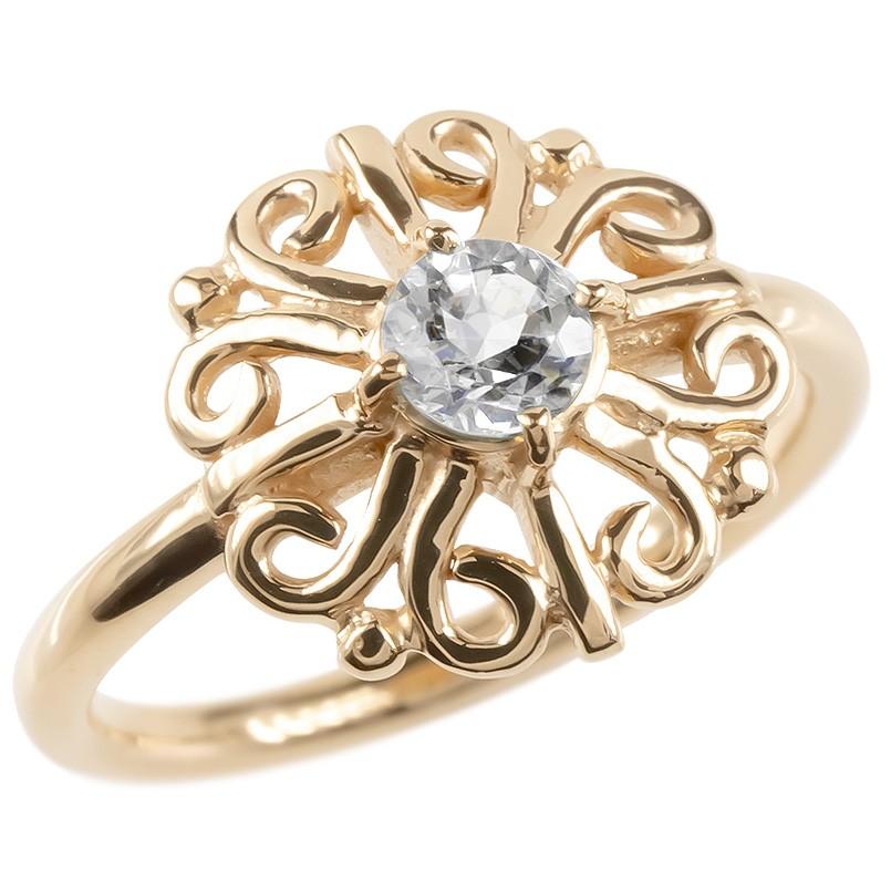 ゴールド リング ダイヤモンド 一粒 大粒 レディース 指輪 ピンクゴールドk10 婚約指輪 安い エンゲージリング ピンキーリング アラベスク アンティーク 花