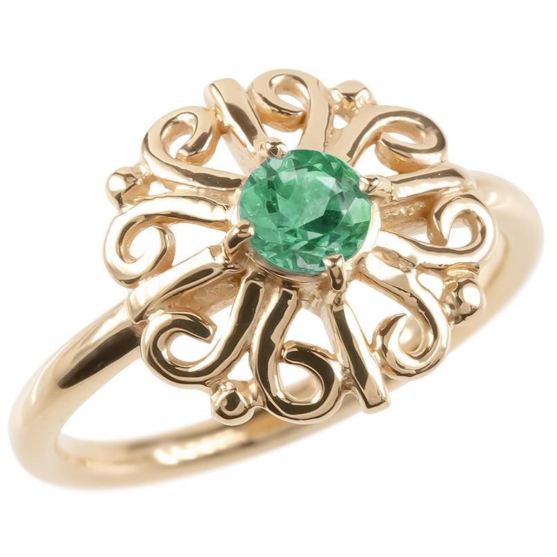 ゴールド リング エメラルド レディース 指輪 ピンクゴールドk10 婚約指輪 安い エンゲージリング ピンキーリング 透かし アラベスク アンティーク 花