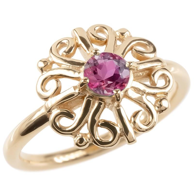 18金 リング ゴールド ルビー レディース 指輪 ピンクゴールドk18 婚約指輪 安い エンゲージリング ピンキーリング 透かし アラベスク アンティーク 花