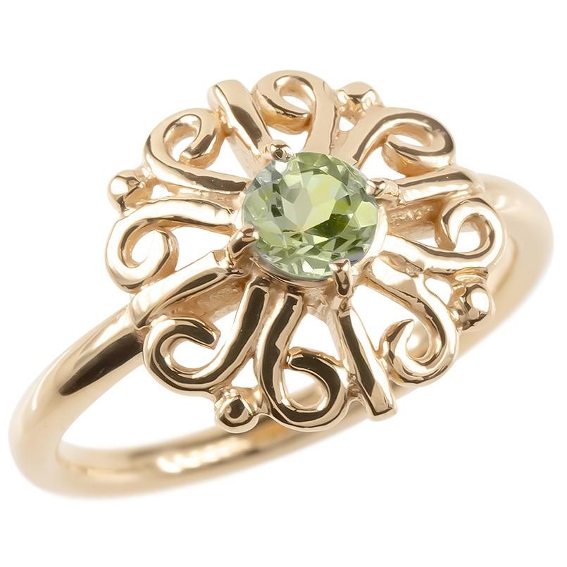 ゴールド リング ペリドット レディース 指輪 ピンクゴールドk10 婚約指輪 安い エンゲージリング ピンキーリング 透かし アラベスク アンティーク 花