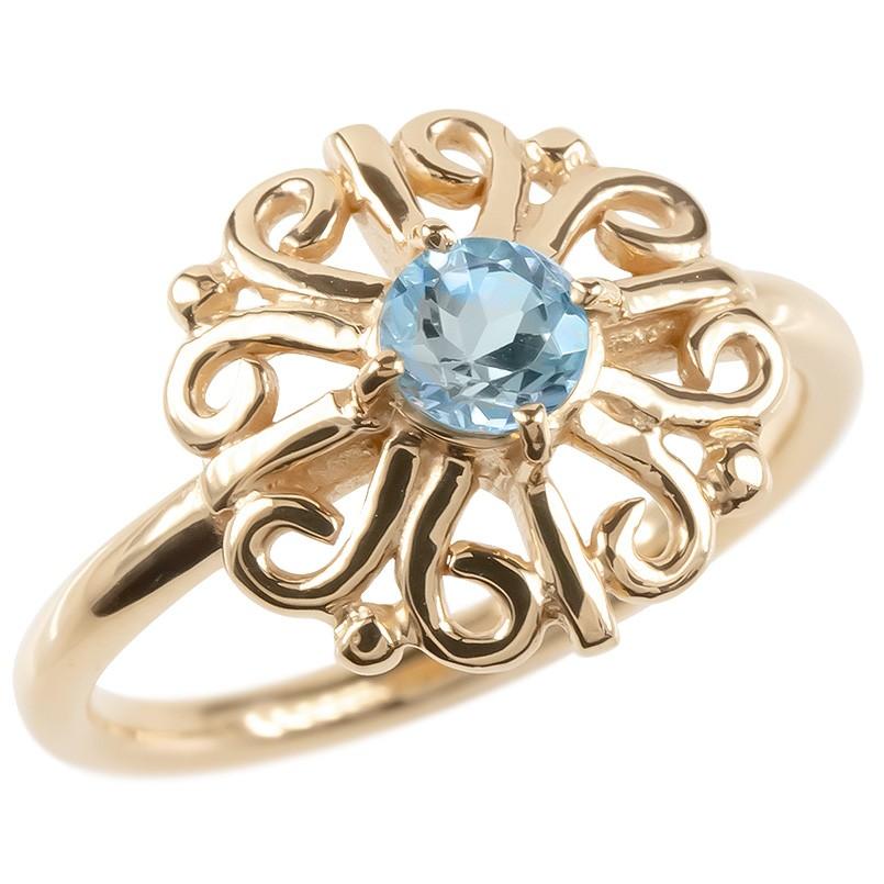 18金 リング ゴールド ブルートパーズ レディース 指輪 ピンクゴールドk18 婚約指輪 安い エンゲージリング ピンキーリング アラベスク アンティーク 花