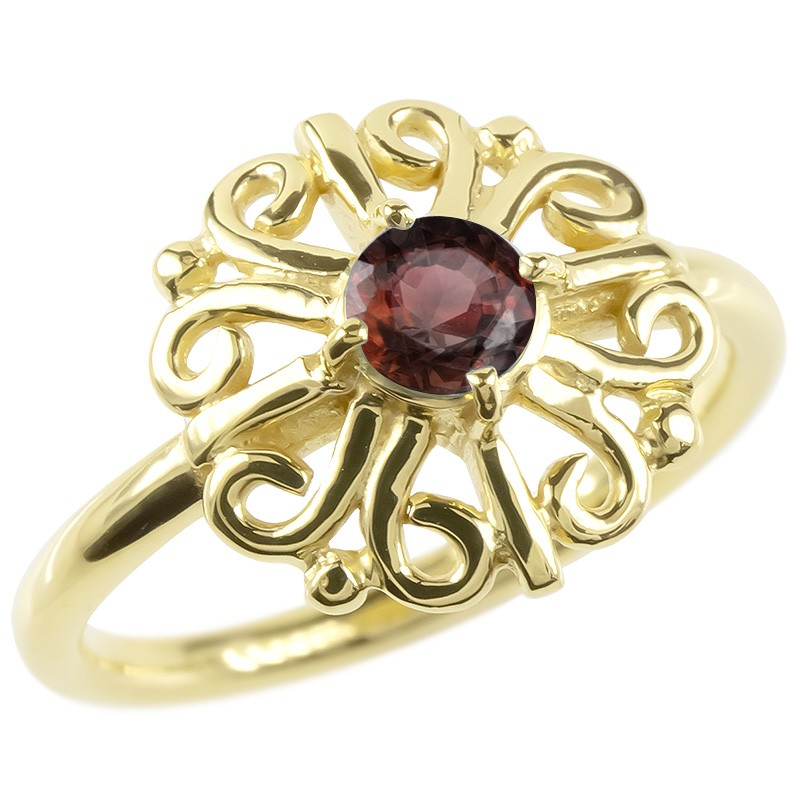 婚約指輪 安い 18金 リング ゴールド ガーネット レディース 指輪 イエローゴールドk18 エンゲージリング ピンキーリング 透かし アラベスク アンティーク 花