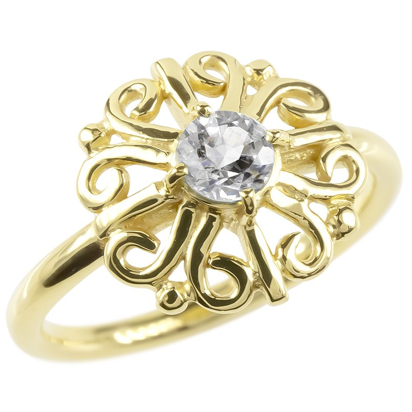 ゴールド リング ダイヤモンド 一粒 大粒 レディース 指輪 イエローゴールドk10 婚約指輪 安い エンゲージリング ピンキーリング アラベスク アンティーク 花