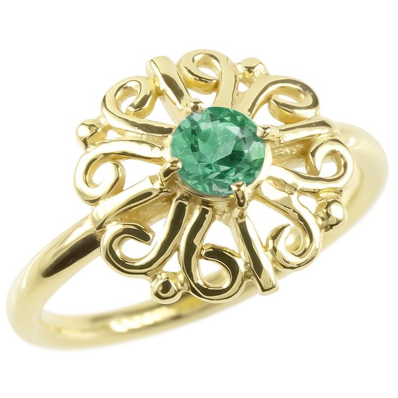 婚約指輪 安い 18金 リング ゴールド エメラルド レディース 指輪 イエローゴールドk18 エンゲージリング ピンキーリング 透かし アラベスク アンティーク 花