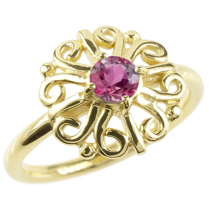 婚約指輪 安い 18金 リング ゴールド ルビー レディース 指輪 イエローゴールドk18 エンゲージリング ピンキーリング 透かし アラベスク アンティーク 花