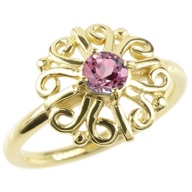 18金 リング ゴールド ピンクトルマリン レディース 指輪 イエローゴールドk18 婚約指輪 安い エンゲージリング ピンキーリング アラベスク アンティーク 花