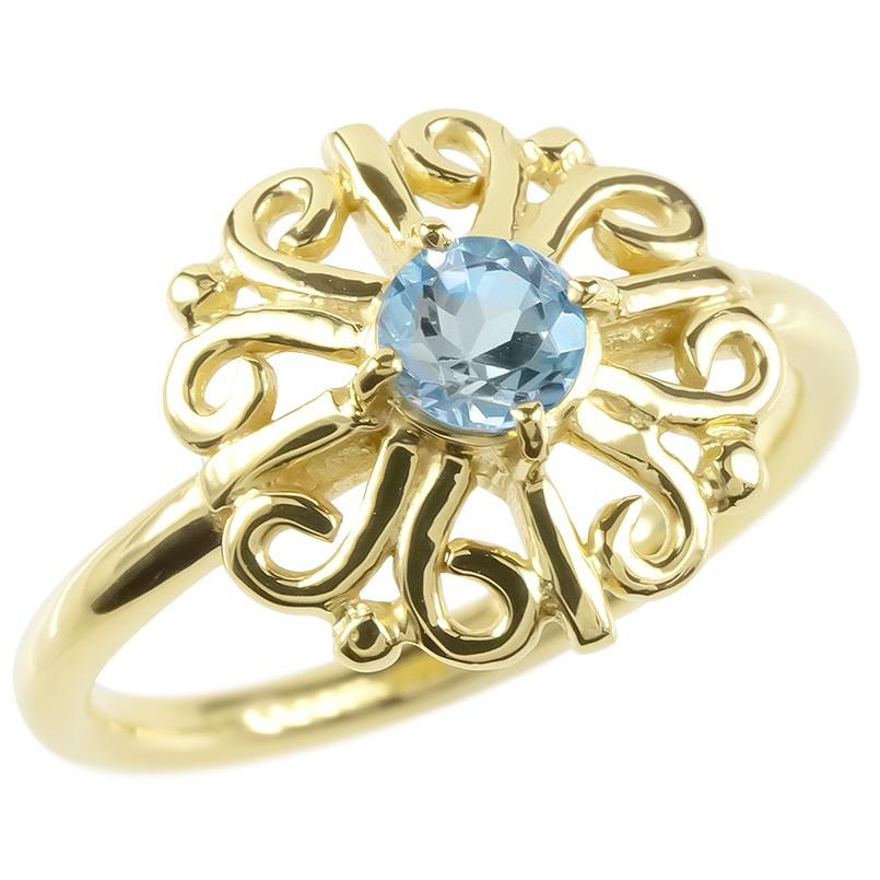 18金 リング ゴールド ブルートパーズ レディース 指輪 イエローゴールドk18 婚約指輪 安い エンゲージリング ピンキーリング アラベスク アンティーク 花