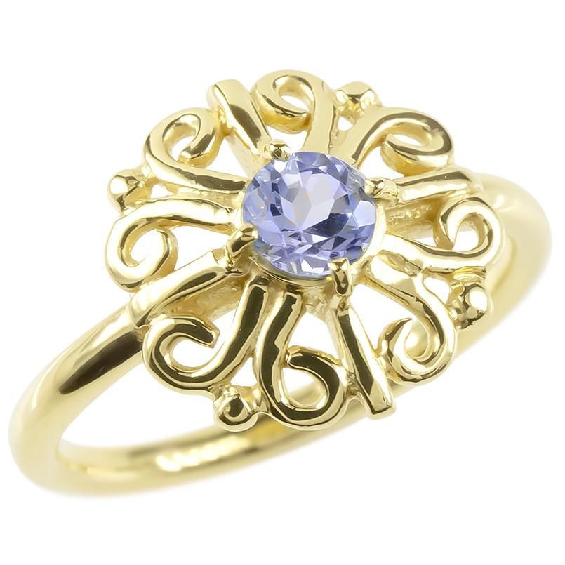 婚約指輪 安い ゴールド リング タンザナイト レディース 指輪 イエローゴールドk10 エンゲージリング ピンキーリング 透かし アラベスク アンティーク 花