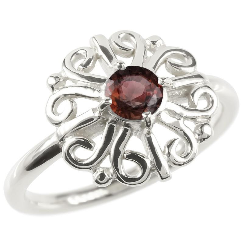 18金 リング ゴールド ガーネット レディース 指輪 ホワイトゴールドk18 婚約指輪 安い エンゲージリング ピンキーリング 透かし アラベスク アンティーク 花