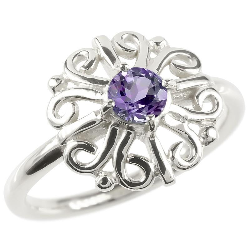 プラチナ リング アメジスト レディース 指輪 pt900 婚約指輪 安い エンゲージリング ピンキーリング 透かし アラベスク アンティーク 花 フラワー リング 女性
