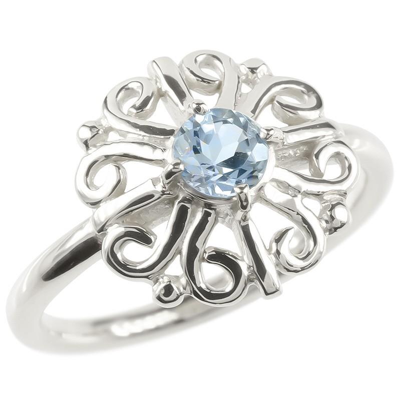 ゴールド リング アクアマリン レディース 指輪 ホワイトゴールドk10 婚約指輪 安い エンゲージリング ピンキーリング 透かし アラベスク アンティーク 花