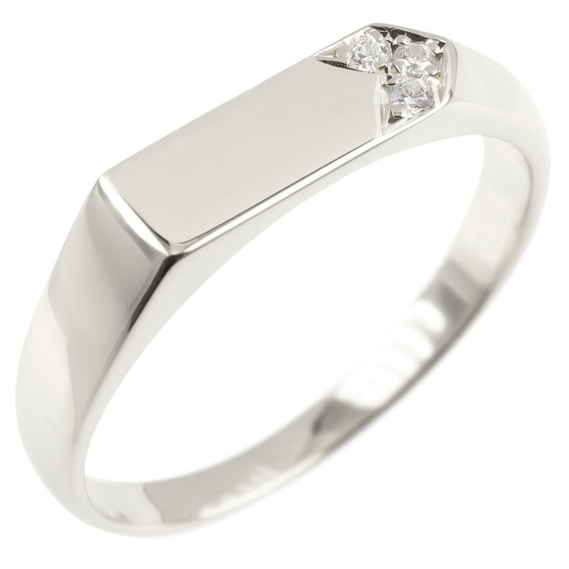 ゴールド リング 印台 ダイヤモンド レディース 指輪 ホワイトゴールドk10 10金 婚約指輪 安い エンゲージリング ピンキーリング リング 女性 送料無料