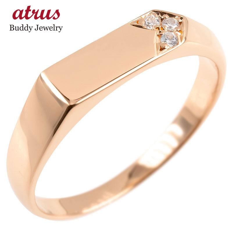 ゴールド リング メンズ 印台 ダイヤモンド 指輪 ピンクゴールドk10 10金 シンプル ピンキーリング リング 男性 送料無料