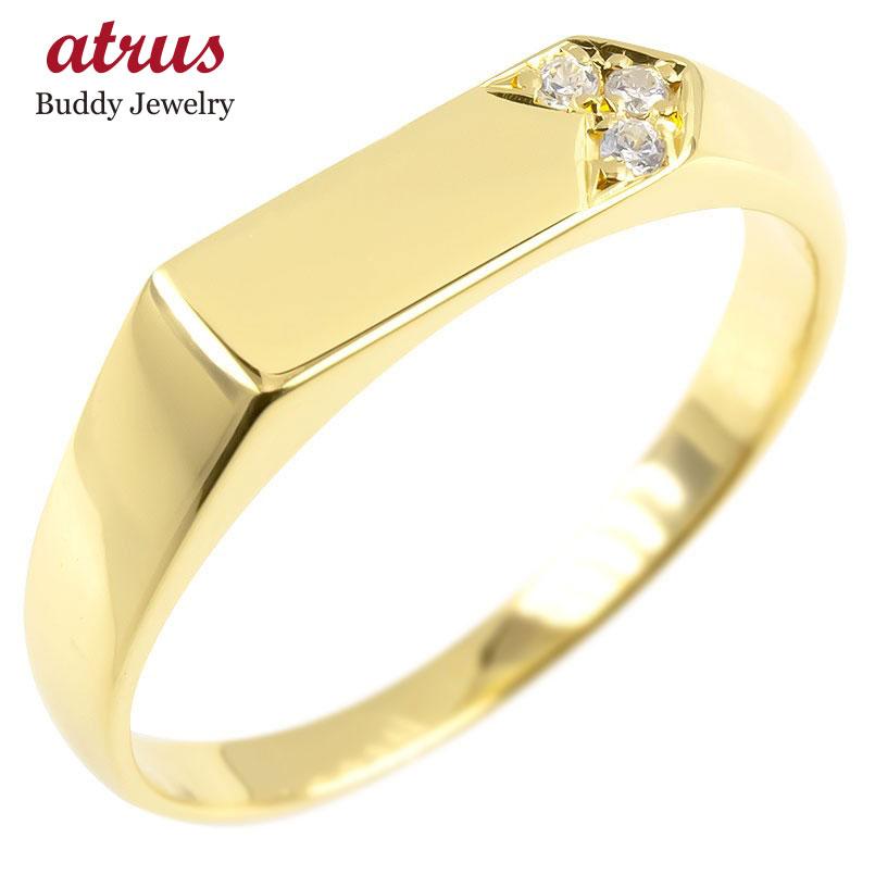 18金 リング ゴールド 印台 ダイヤモンド レディース 指輪 イエローゴールドk18 婚約指輪 安い エンゲージリング ピンキーリング リング 女性 送料無料