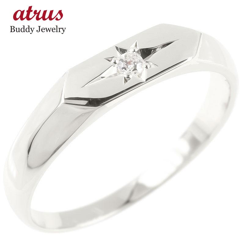 ゴールド リング 印台 ダイヤモンド 一粒 レディース 指輪 ホワイトゴールドk10 10金 婚約指輪 安い エンゲージリング ピンキーリング リング 女性 送料無料