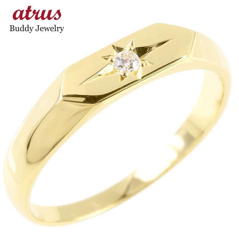 18金 リング ゴールド メンズ 印台 ダイヤモンド 一粒 指輪 イエローゴールドk18 シンプル ピンキーリング リング 男性 送料無料 父の日