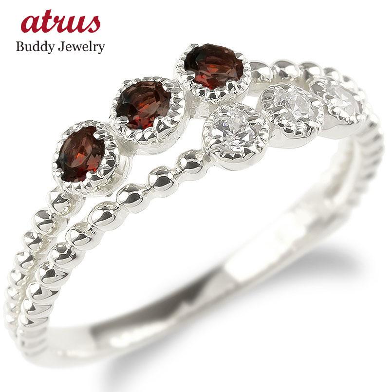 ゴールド リング レディース キュービックジルコニア ガーネット 2連 指輪 ホワイトゴールドk10 婚約指輪 安い エンゲージリング ピンキーリング 送料無料