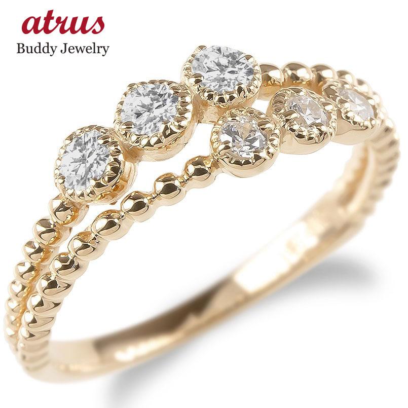 婚約指輪 安い 18金 リング レディース ダイヤモンド 2連 指輪 ピンクゴールドk18 ボール ダイヤ エンゲージリング ピンキーリング 女性 送料無料