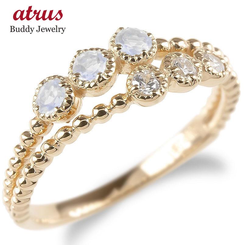 婚約指輪 安い ゴールド リング レディース キュービックジルコニア ブルームーンストーン 2連 指輪 ピンクゴールドk10 ボール ピンキーリング 送料無料