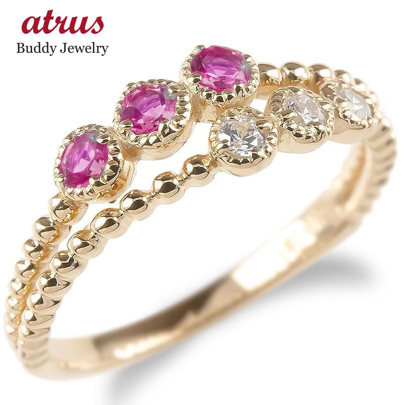 婚約指輪 安い 18金 リング レディース ダイヤモンド ルビー 2連 指輪 ピンクゴールドk18 ボール ダイヤ エンゲージリング ピンキーリング 女性 送料無料