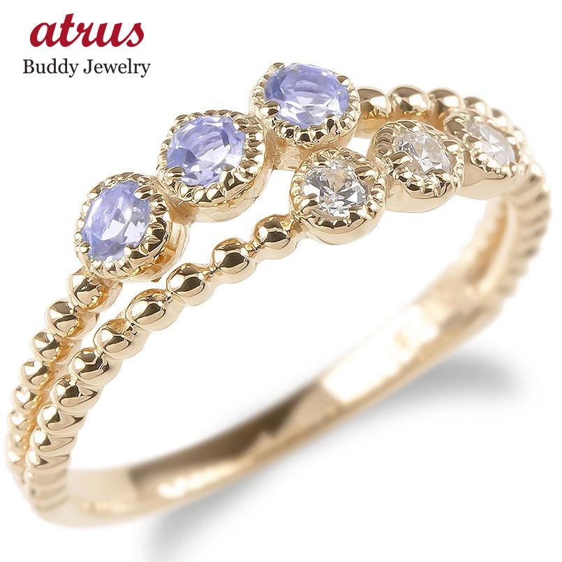 婚約指輪 安い ゴールド リング レディース キュービックジルコニア タンザナイト 2連 指輪 ピンクゴールドk10 エンゲージリング ピンキーリング 送料無料