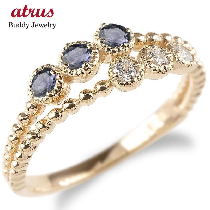 婚約指輪 安い ゴールド リング レディース キュービックジルコニア アイオライト 2連 指輪 ピンクゴールドk10 エンゲージリング ピンキーリング 送料無料