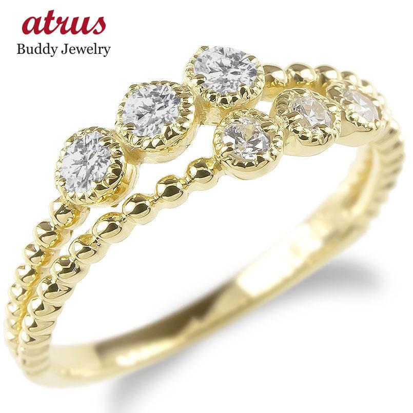 婚約指輪 安い 18金 リング レディース ダイヤモンド 2連 指輪 イエローゴールドk18 ボール ダイヤ エンゲージリング ピンキーリング 女性 送料無料