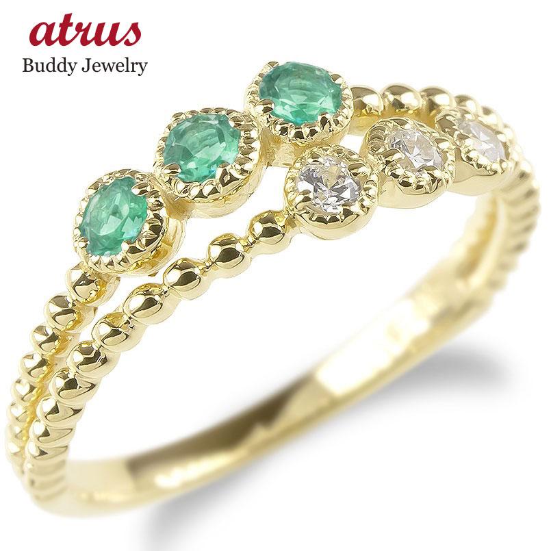 婚約指輪 安い 18金 リング レディース ダイヤモンド エメラルド 2連 指輪 イエローゴールドk18 ボール ダイヤ エンゲージリング ピンキーリング 女性 送料無料