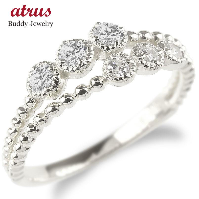 婚約指輪 安い プラチナ リング レディース ダイヤモンド 2連 指輪 pt900 ボール ダイヤ エンゲージリング ピンキーリング 女性 人気 送料無料