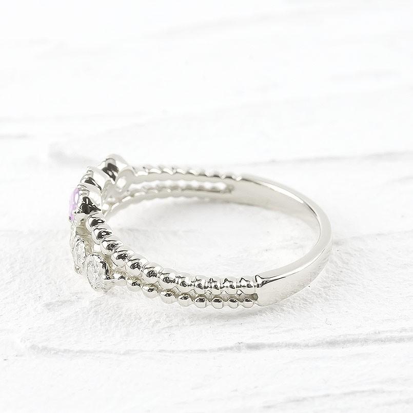 婚約指輪 安い シルバー リング レディース ダイヤモンド ピンクサファイア 2連 指輪 sv925 ボール ダイヤ エンゲージリング ピンキーリング 女性 人気 送料無料xBrodCe