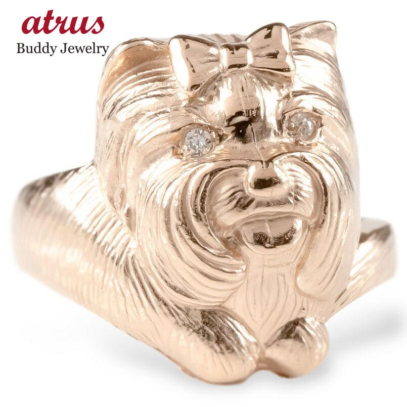<title>個性的なシルエット アニマルモチーフリング ゴールド リング ヨークシャーテリア ダイヤモンド レディース 指輪 10k ピンクゴールドk10 婚約指輪 ピンキーリング 犬 動物 アニマル 女性 ギフ_包装 送料無料</title>