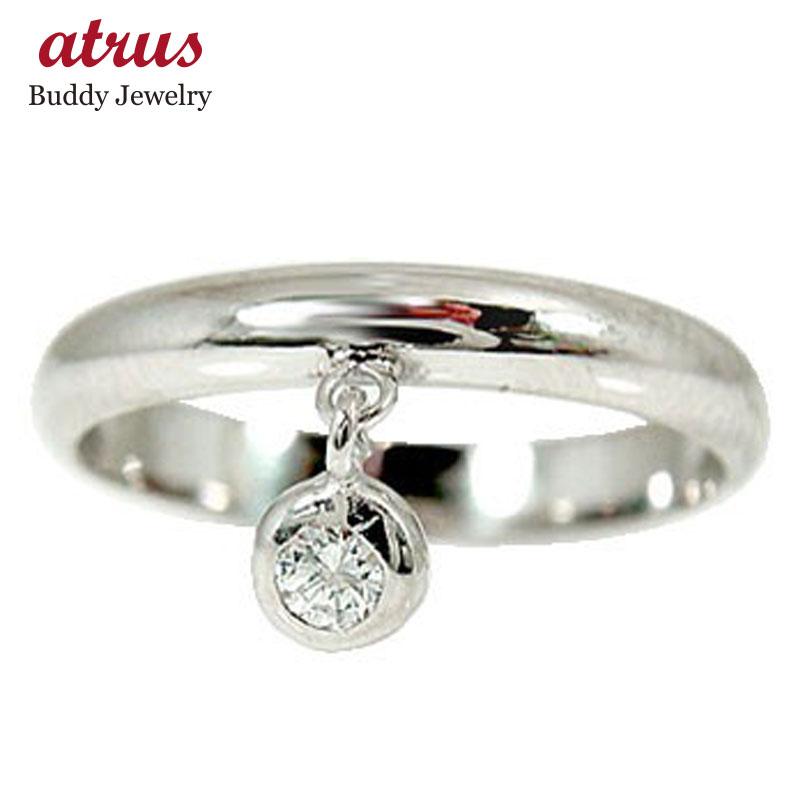 ピンキーリング ホワイトゴールドk10リング;一粒 ;ダイヤモンド 指輪 ダイヤ 10金 ストレート 宝石 送料無料