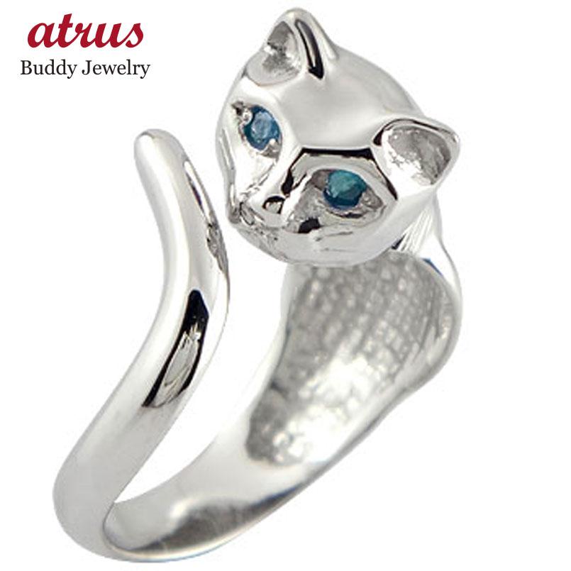 ピンキーリング 指輪 ダイヤモンド リング 猫 ホワイトゴールドk18 18金 ダイヤ 4月誕生石 ストレート 送料無料