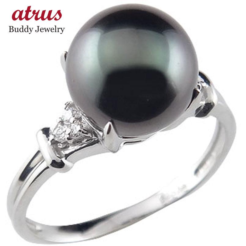 ピンキーリング ブラックパールリングダイヤモンド ホワイトゴールドk18指輪 18金 ダイヤ 6月誕生石 ストレート 宝石 真珠 フォーマル 送料無料