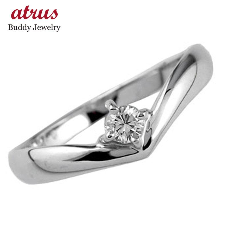 ピンキーリング ダイヤモンドリング 一粒 ホワイトゴールドK18 指輪 18金 ダイヤ ストレート 送料無料