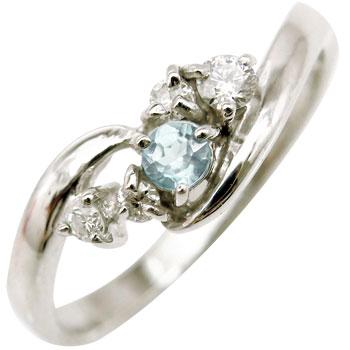 ピンキーリング ダイヤモンド リング アクアマリン ホワイトゴールドk10リング 指輪 k10 ダイヤ10金 ダイヤ ストレート 宝石 送料無料