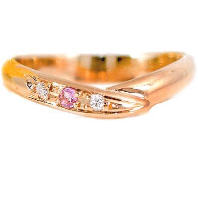 ピンクゴールドk10 指輪 ピンキーリングダイヤモンド リングダイヤモンド 0.02ctピンクトルマリンk10 10金 ダイヤ ストレート 2.3 宝石 送料無料
