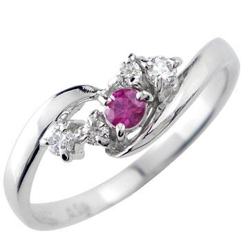 ピンキーリング ホワイトゴールドk10リング 指輪 ダイヤモンド リング ルビー ダイヤ 10金 ストレート 宝石 送料無料