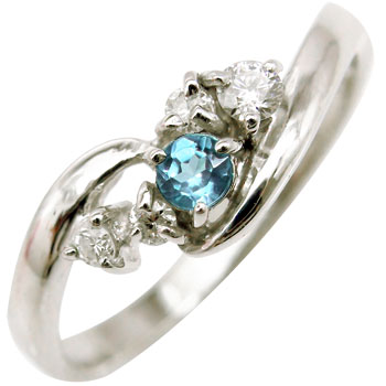 ピンキーリング ダイヤモンド リング ブルートパーズ ホワイトゴールドk10リング 指輪 10金 ダイヤ ストレート 宝石 送料無料