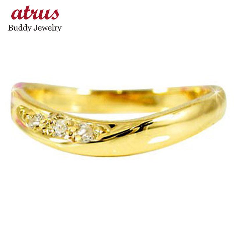 ピンキーリング 指輪 ダイヤモンド イエローゴールドk10 ダイヤ 10金 ウェーブリング ストレート 宝石 送料無料