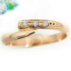 ピンキーリング ダイヤモンド リング ダイヤ 0.04ctピンクゴールドk10指輪 k10 10金 ストレート 送料無料