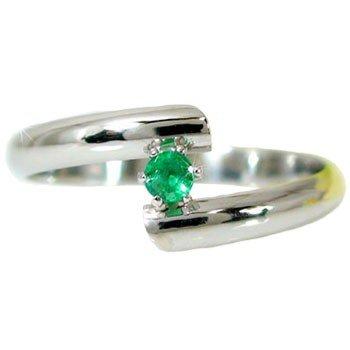 ピンキーリング プラチナリング;エメラルド 指輪 5月誕生石 ストレート 宝石 送料無料
