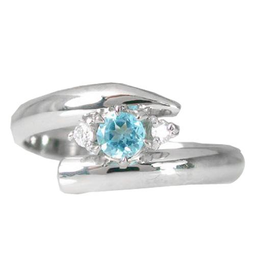 ピンキーリング トパーズ ブルートパーズ プラチナリング 指輪ダイヤモンド ダイヤ 11月誕生石 ストレート 送料無料