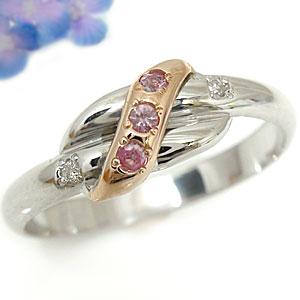 ピンキーリング ダイヤモンド ピンクサファイア ホワイトゴールドk10リング ピンクゴールドk10 指輪 k10k10 10金 ダイヤ ストレート 宝石 送料無料
